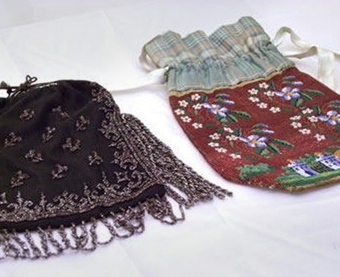 Beaded Purses Cotton, satin, steal beads. These two purses are from a large collection of beaded purses owned by the Haverhill Historical Society.
